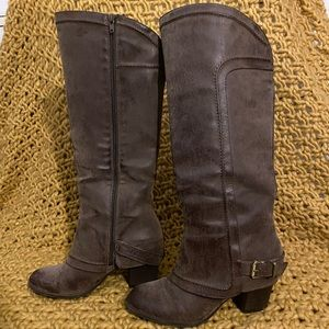 Brown high heeled boots